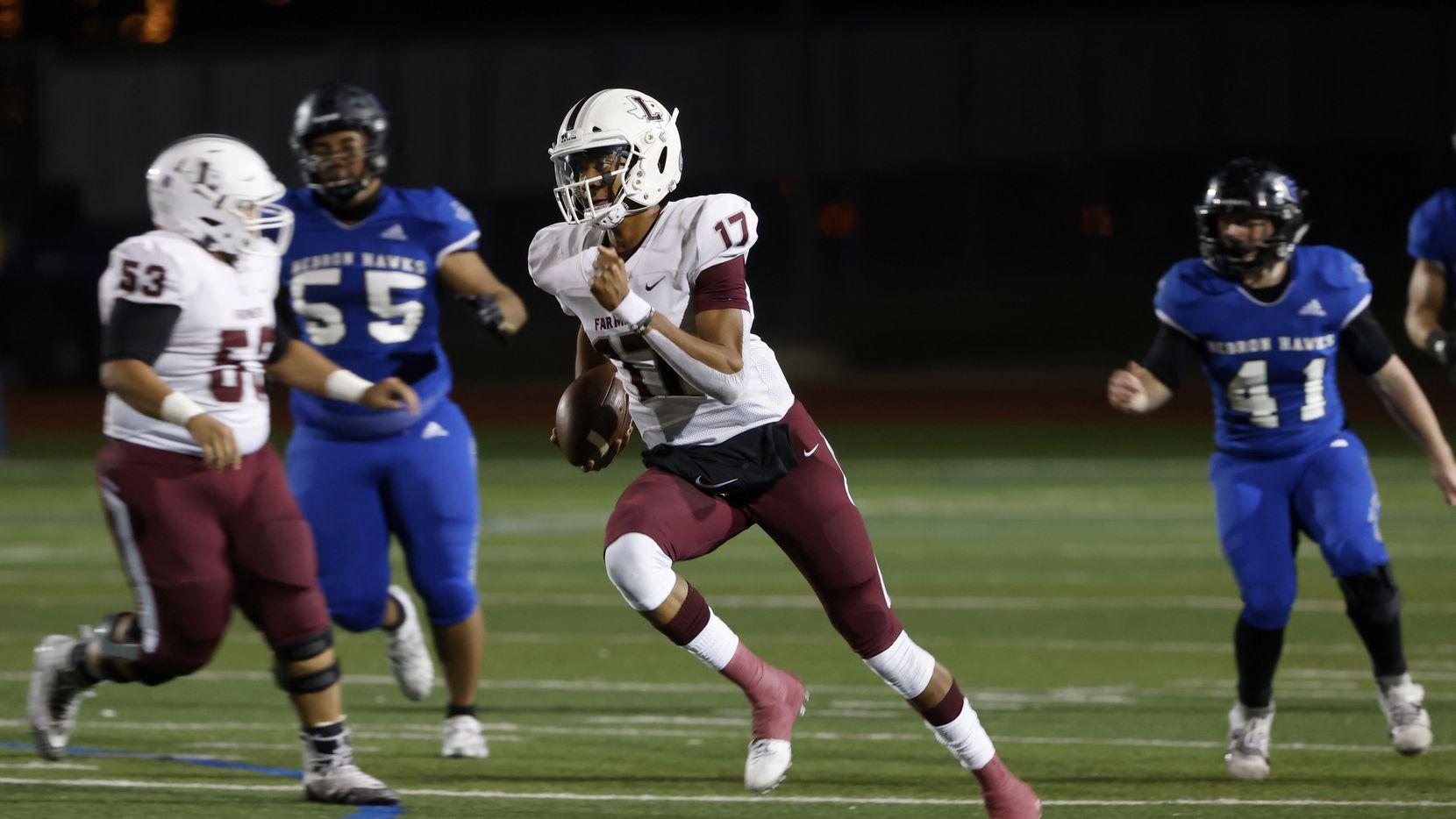 Lewisville quarterback Taylen Green (17) runs for a long touchdown against Hebron during their District 6-6A high school football game on Dec. 4, 2020.