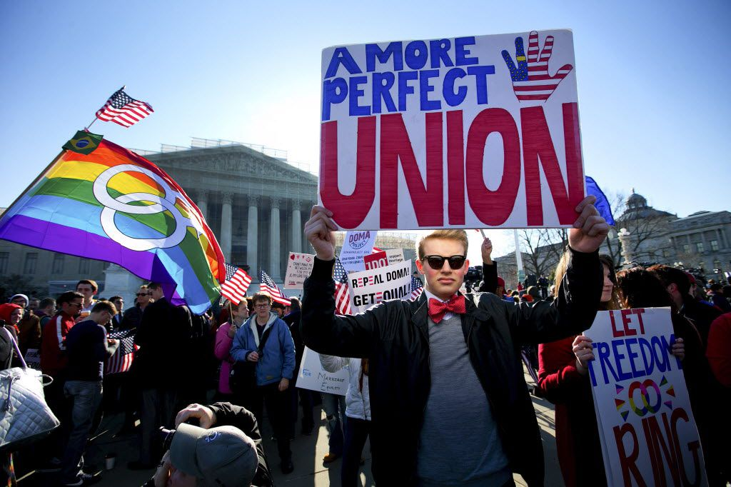Ryan Toney, a student at George Washington University, demonstrated with other supporters of same-sex marriage outside the U.S. Supreme Court in Washington in 2013.