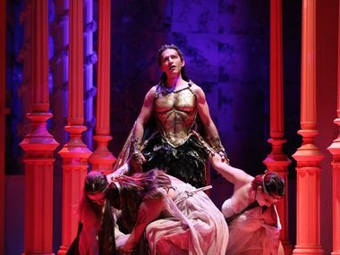 Anthony Roth Costanzo as Dionysus and Leah Brzyski, Megan Moore and Rachel Blaustein as the three attendants in the world premiere of John Corigliano's 'The Lord of the Cries' at the Santa Fe Opera.