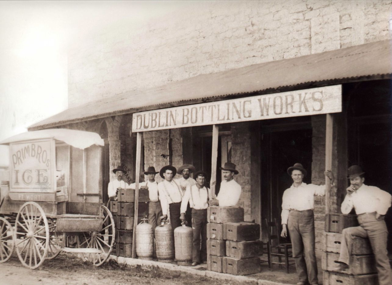 "The name ""Dublin Bottling Works"" dates back to the earliest days of Dr Pepper in Dublin. This historic photo shows Sam Houston Primm's bottling plant in the early 1900s. (Dublin Bottling Works)"