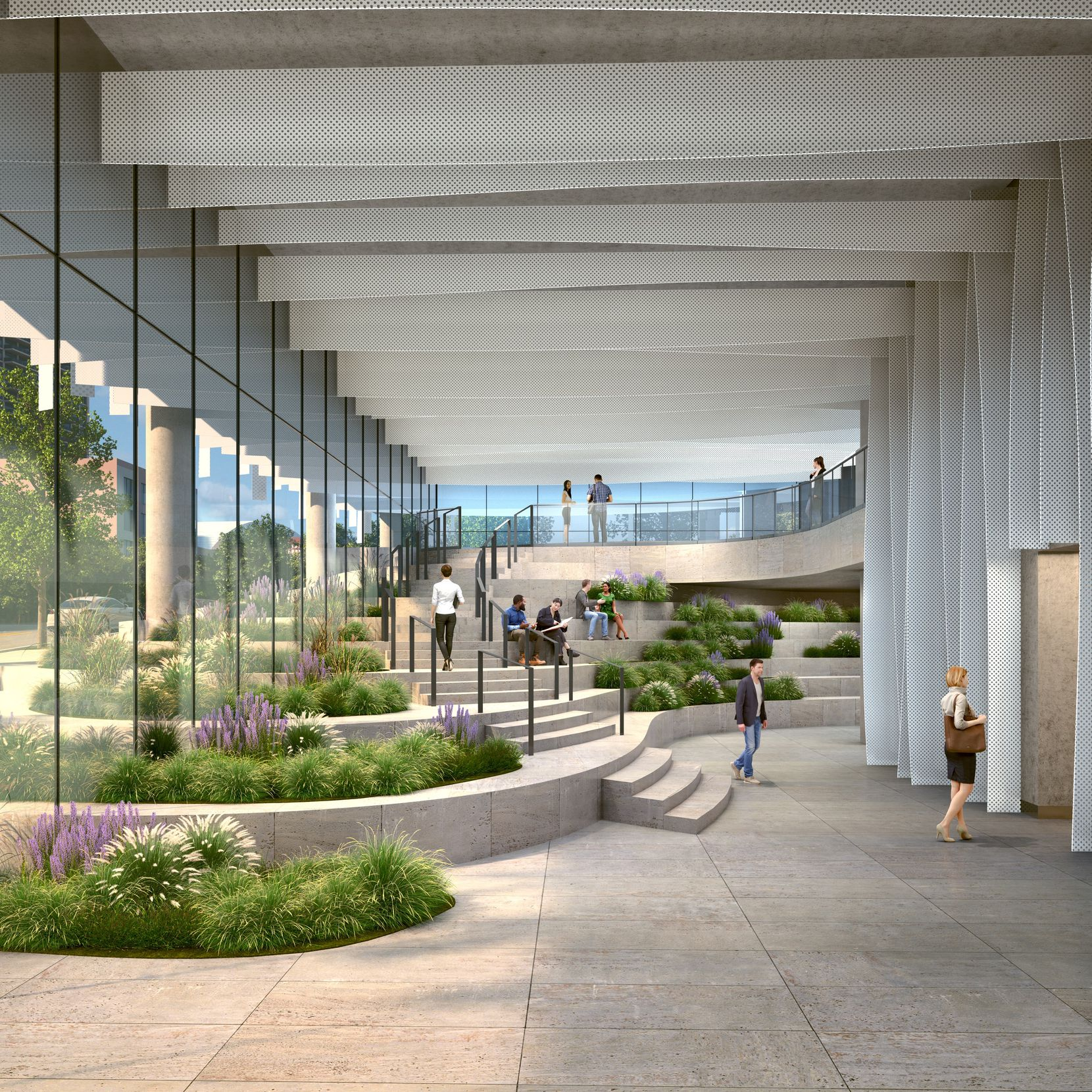 The building will have a two-story lobby with garden areas.
