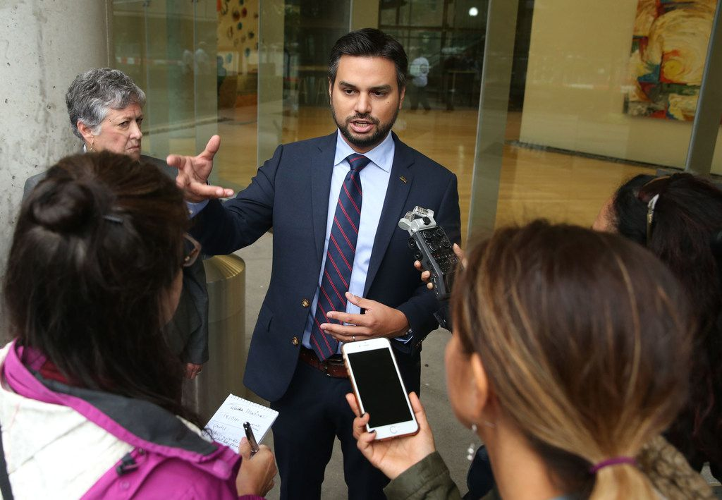 Andre Segura, American Civil Liberties Union of Texas legal director, speaks with members of the press outside of Greyhound's headquarters at 350 N. Saint Paul St. in Dallas on Friday, October 19, 2018. The ACLU is challenging Greyhound for allowing federal immigration officers to detain people while on its buses. (Daniel Carde/The Dallas Morning News)