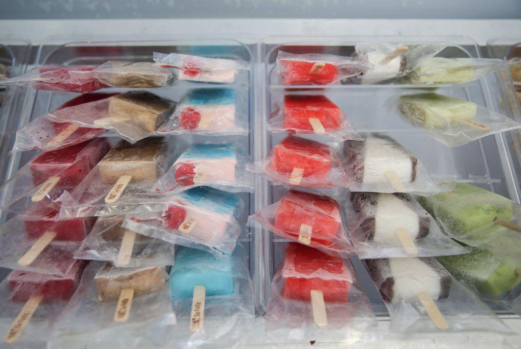 Paletas in a freezer at HA' Paletería