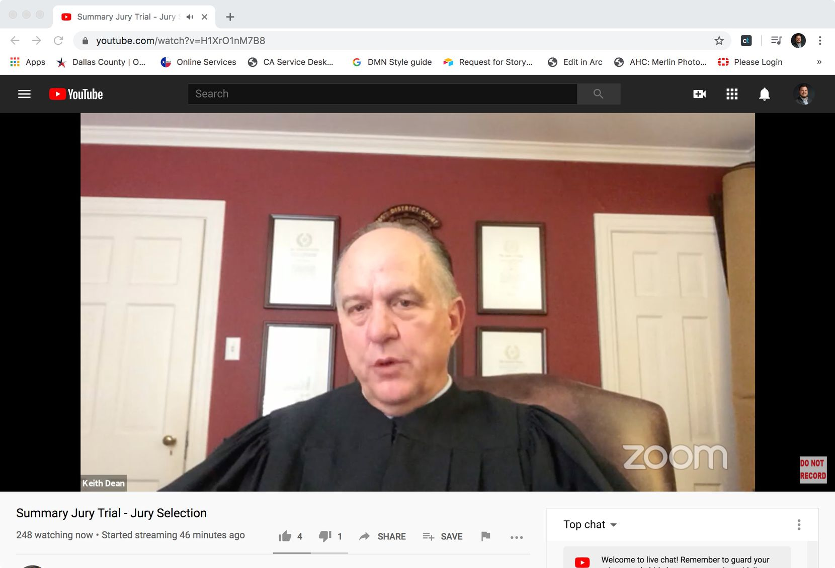 Retired judge Keith Dean speaks to potential jurors on a Zoom call for a summary jury trial in Collin County on May 18, 2020. It was the first time in Texas that a jury trial has taken place virtually, and potentially the first time in the nation, said Collin County Judge Emily Miskel.