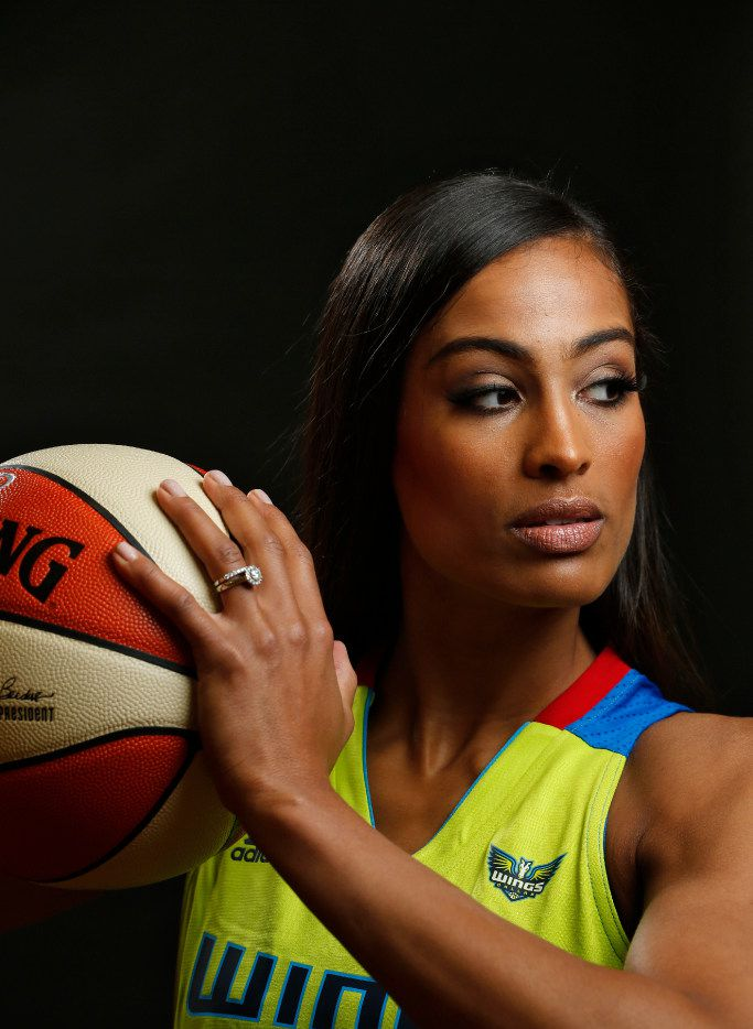 Skylar Diggins-Smith poses for a portrait during Dallas Wings media day College Park Center in Arlington, Texas on May 2, 2017. (Nathan Hunsinger/The Dallas Morning News)