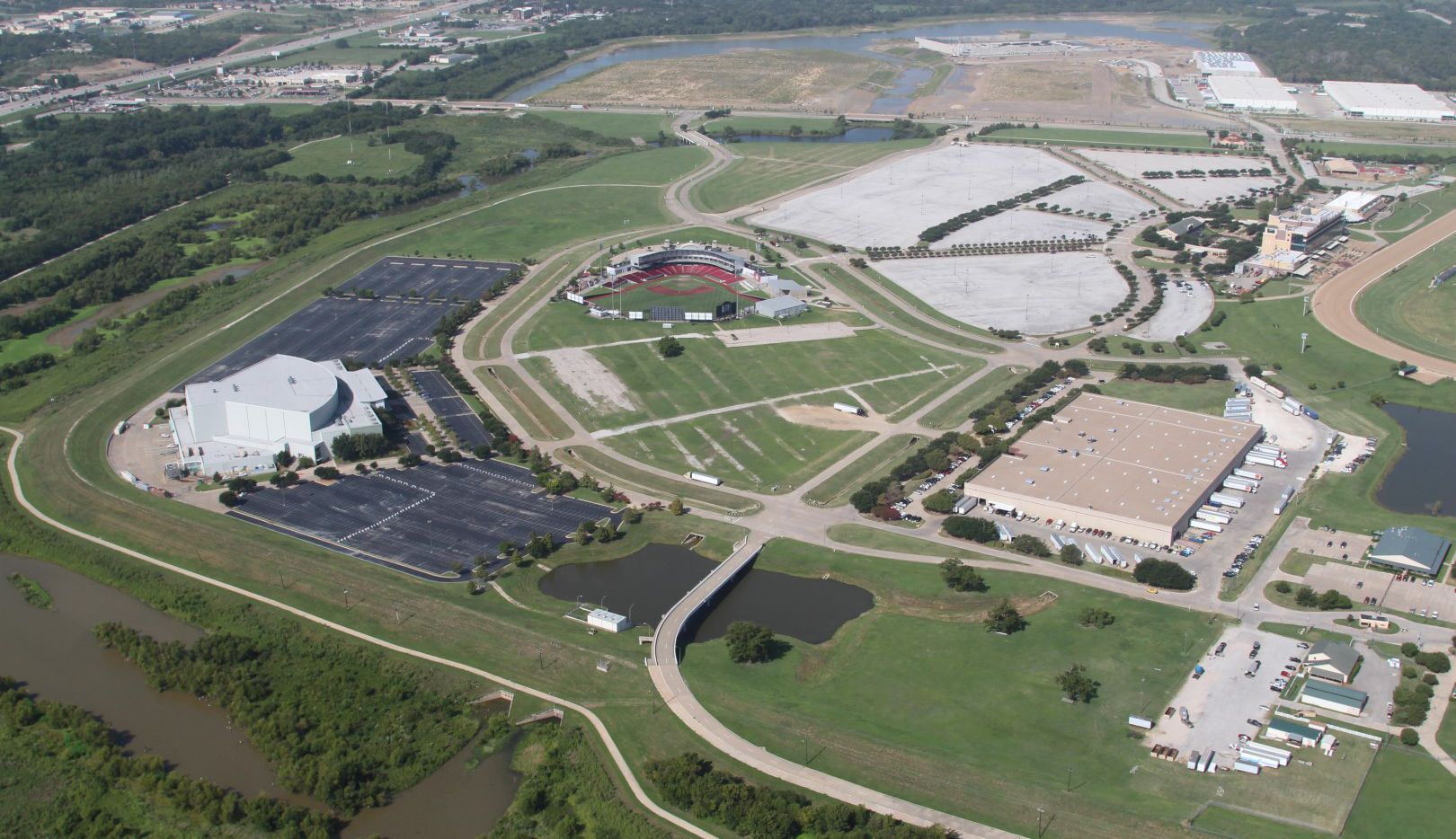 Lone Star Park and the to-be-renamed AirHogs Stadium seen from above. AirHogs Stadium is set to be redeveloped by architecture firm HKS to a central destination for cricket in the U.S.