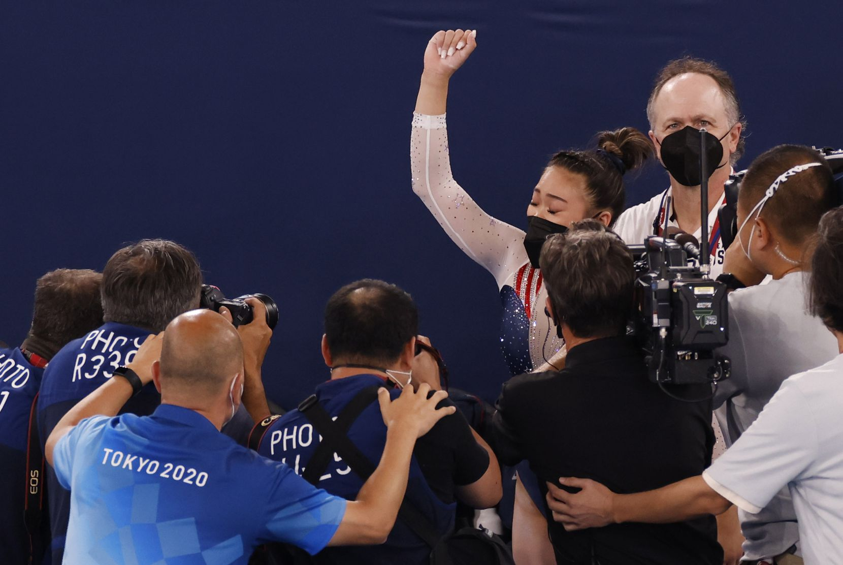 USA's Sunisa Lee celebrates after winning gold in the women's all-around final at the postponed 2020 Tokyo Olympics at Ariake Gymnastics Centre, on Thursday, July 29, 2021, in Tokyo, Japan. (Vernon Bryant/The Dallas Morning News)