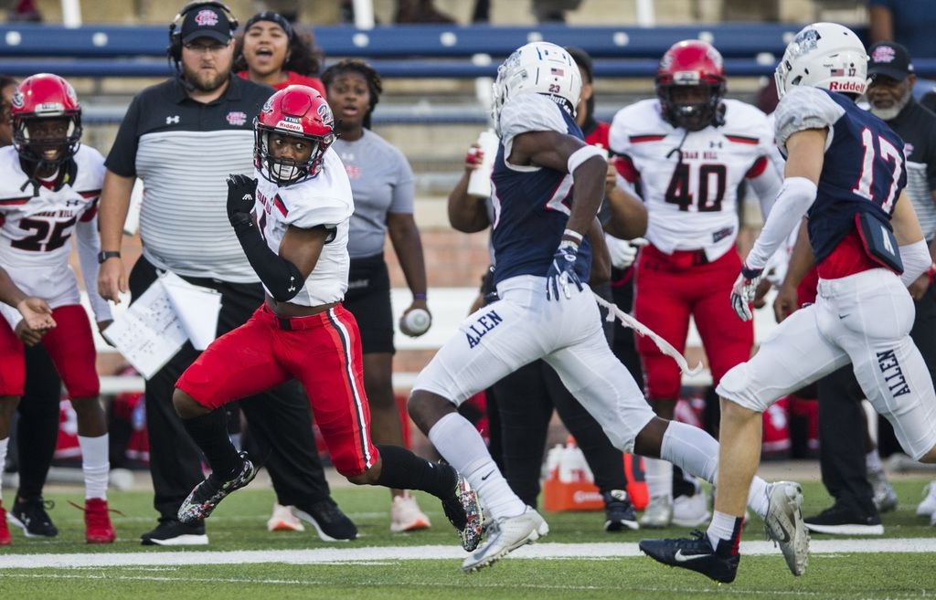 Cedar Hill wide receiver Quin Bright (1) runs the ball during the first quarter of a high school football game between Allen and Cedar Hill on Friday, August 30, 2019 at Eagle Stadium in Allen. (Ashley Landis/The Dallas Morning News)
