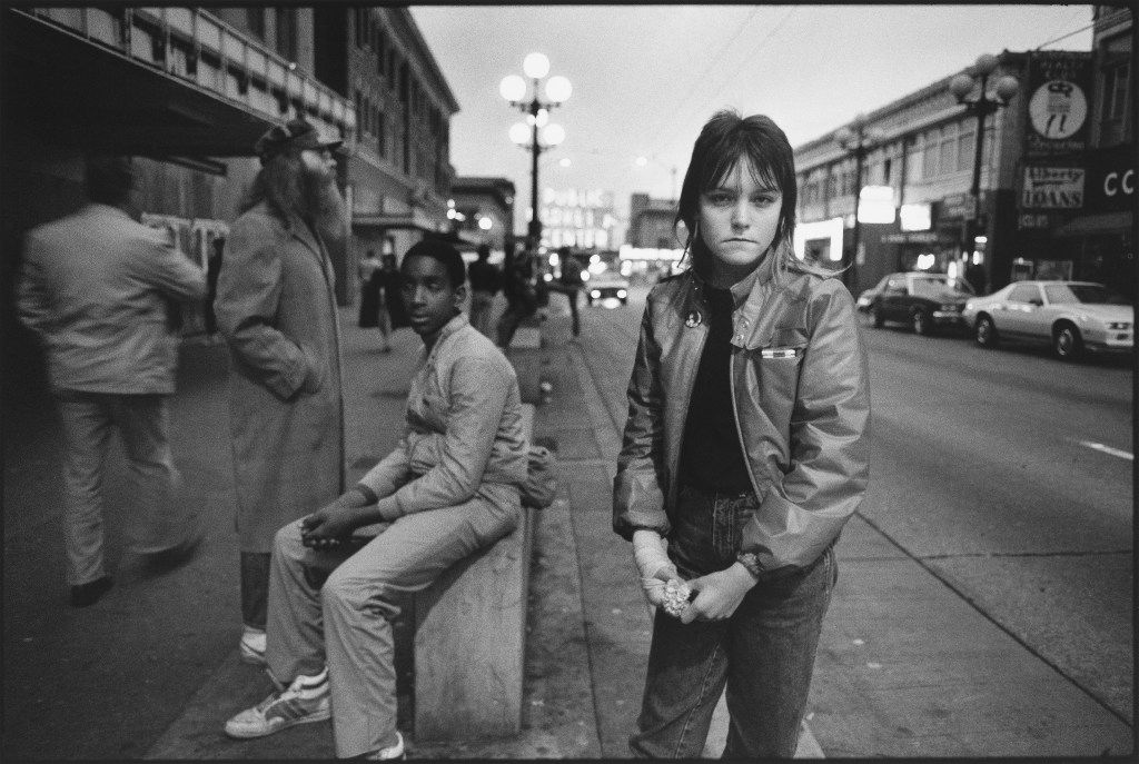 Photos of Tiny, by Mary Ellen Mark. Erin (who goes by her street name    Tiny) on Pike Street, Seattle, 1983