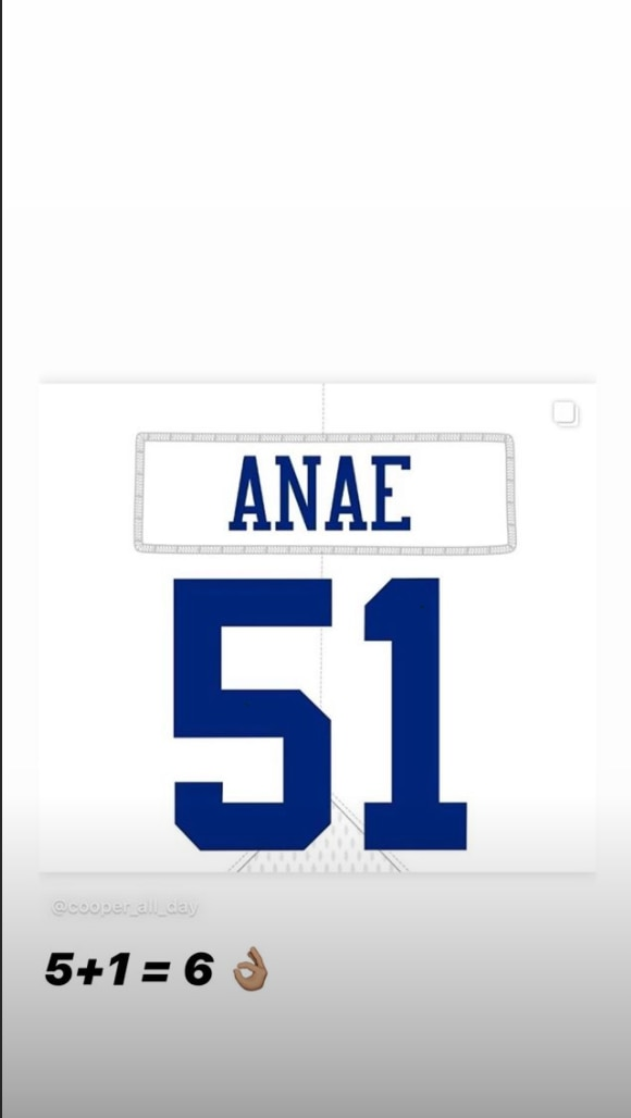A post of Bradlee Anae's jersey number on his Instagram.