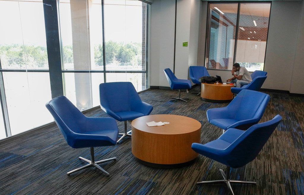 Freshman Benjamin Canady studies in one of the Open Study spaces in the new Student Center building opened on the campus of UNT Dallas Monday, August 26,  2019. (Brian Elledge/Staff Photographer)