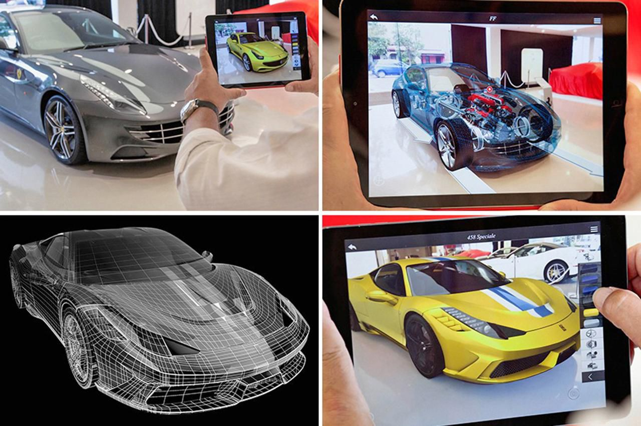 """The Ferrari augmented reality showroom is an example of AR technology. Shoppers can """"see"""" the inner workings of a car without lifting the hood. Westcott LLC invested in Metaio, whose technology is used in the Ferrari software."""