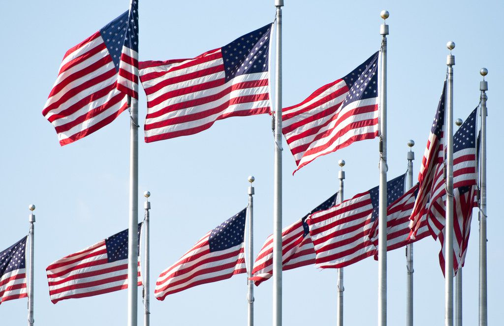 American flags are seen on the National Mall in Washington, D.C., on July 3, 2019,