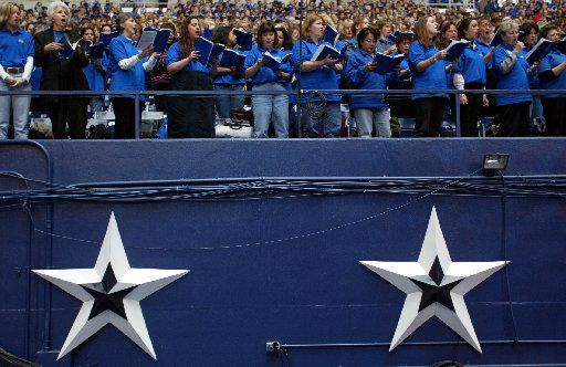The Billy Graham choir performs at Texas Stadium during  the final night of the Billy graham Mission.