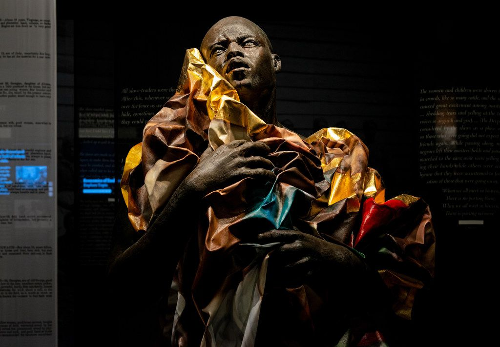 A sculpture by artist Titus Kaphur at the Legacy Museum: From Enslavement to Mass Incarceration in downtown Montgomery, Ala.,