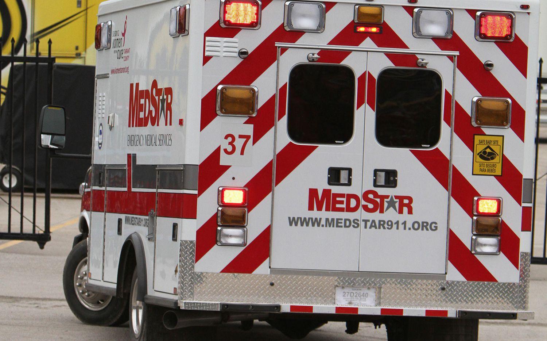 A Medstar ambulance arrives at the scene of an accident.