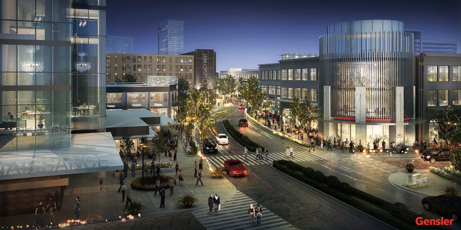 Fidelity Investments is moving to an office near the entrance to the Legacy West Urban Village. (Gensler)