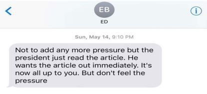 This screen grab of a text that Ed Butowsky allegedly sent to private investigator Rod Wheeler is included in the suit.