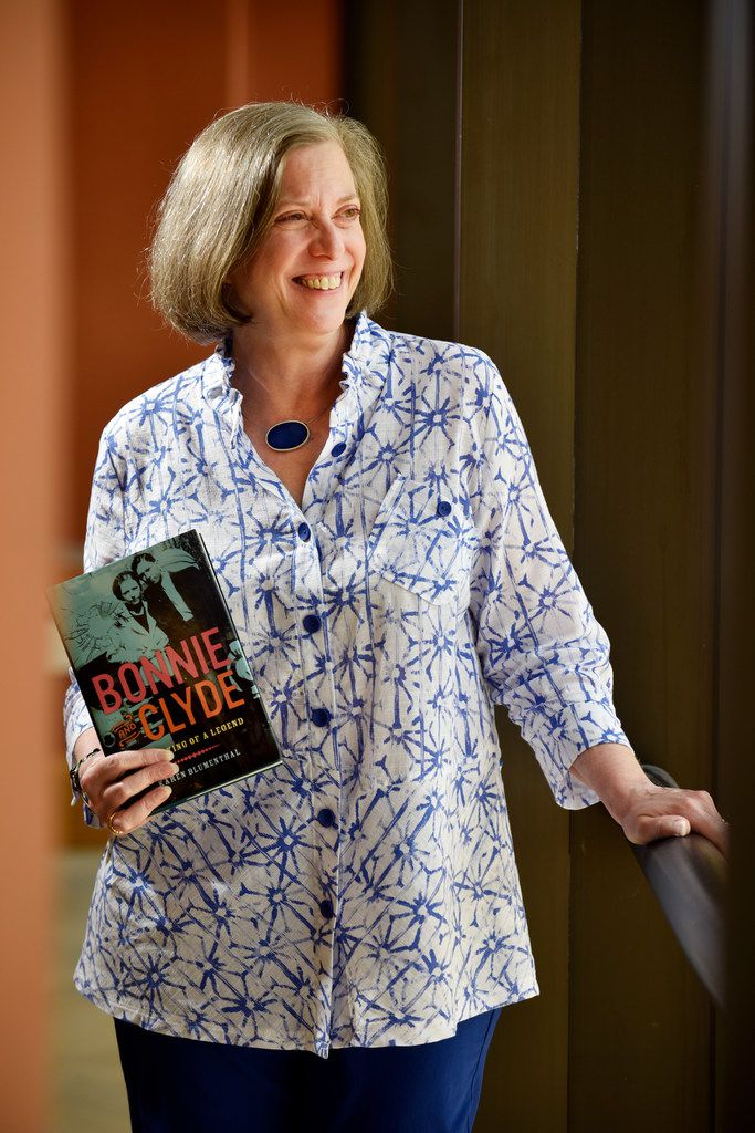 """Dallas writer Karen Blumenthal with her book """"Bonnie and Clyde: The Making of a Legend"""""""