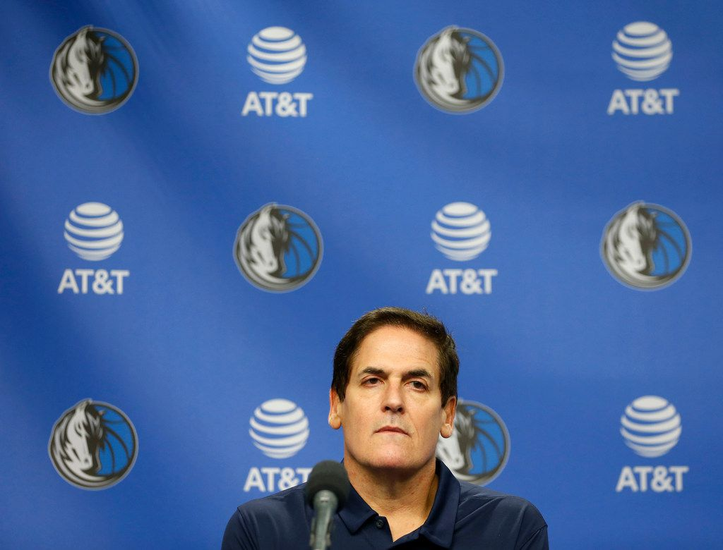 Dallas Mavericks owner Mark Cuban during a press conference announcing newly hired interim CEO Cynthia Marshall at American Airlines Center in Dallas on Monday, February 26, 2018. Marshall has been hired by the Mavericks to help clean up after the recent sexual harassment scandal in the front office. (Vernon Bryant/The Dallas Morning News)
