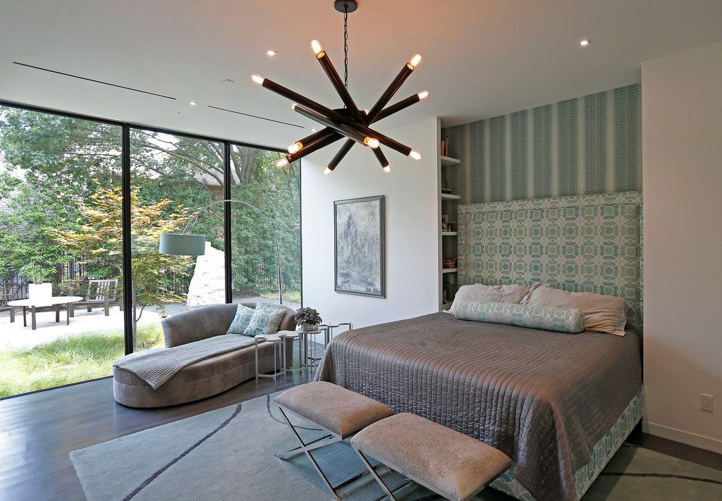 A master bedroom with LED lights at Lynn Rush's LEED Platinum-certified home in Addison, Texas, Wednesday, July 11, 2018. (Jae S. Lee/The Dallas Morning News)