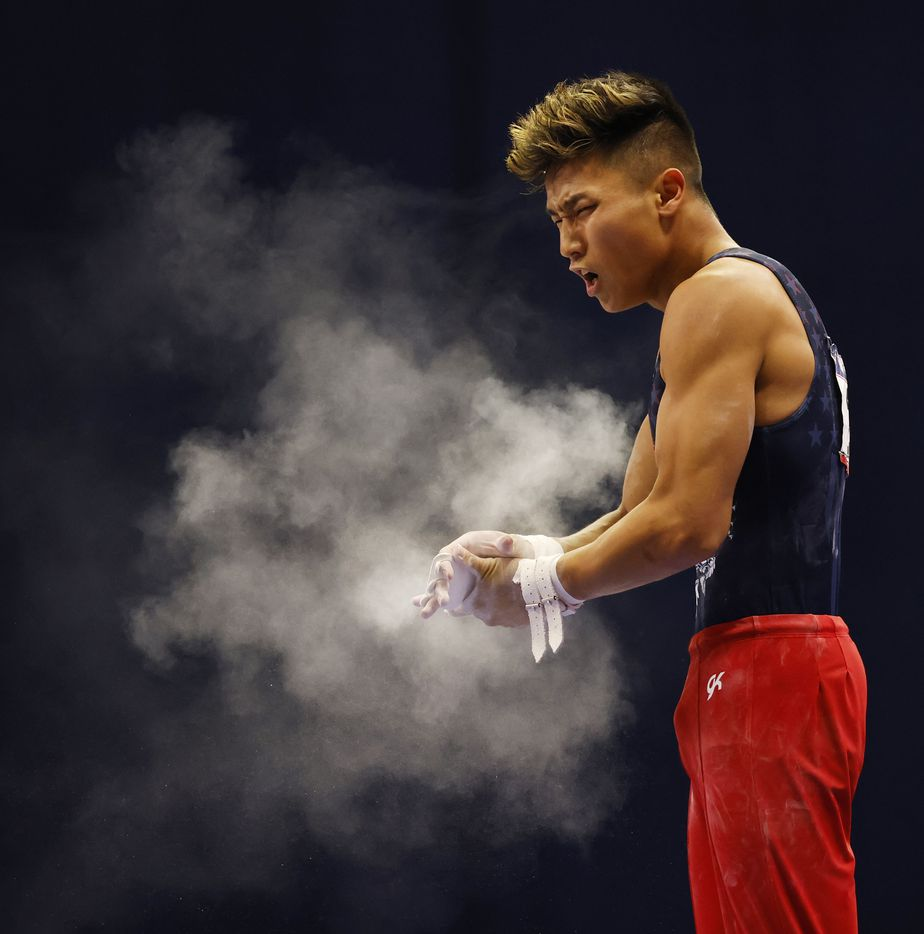 during day 2 of the men's 2021 U.S. Olympic Trials at America's Center on Saturday, June 26, 2021 in St Louis, Missouri.(Vernon Bryant/The Dallas Morning News)