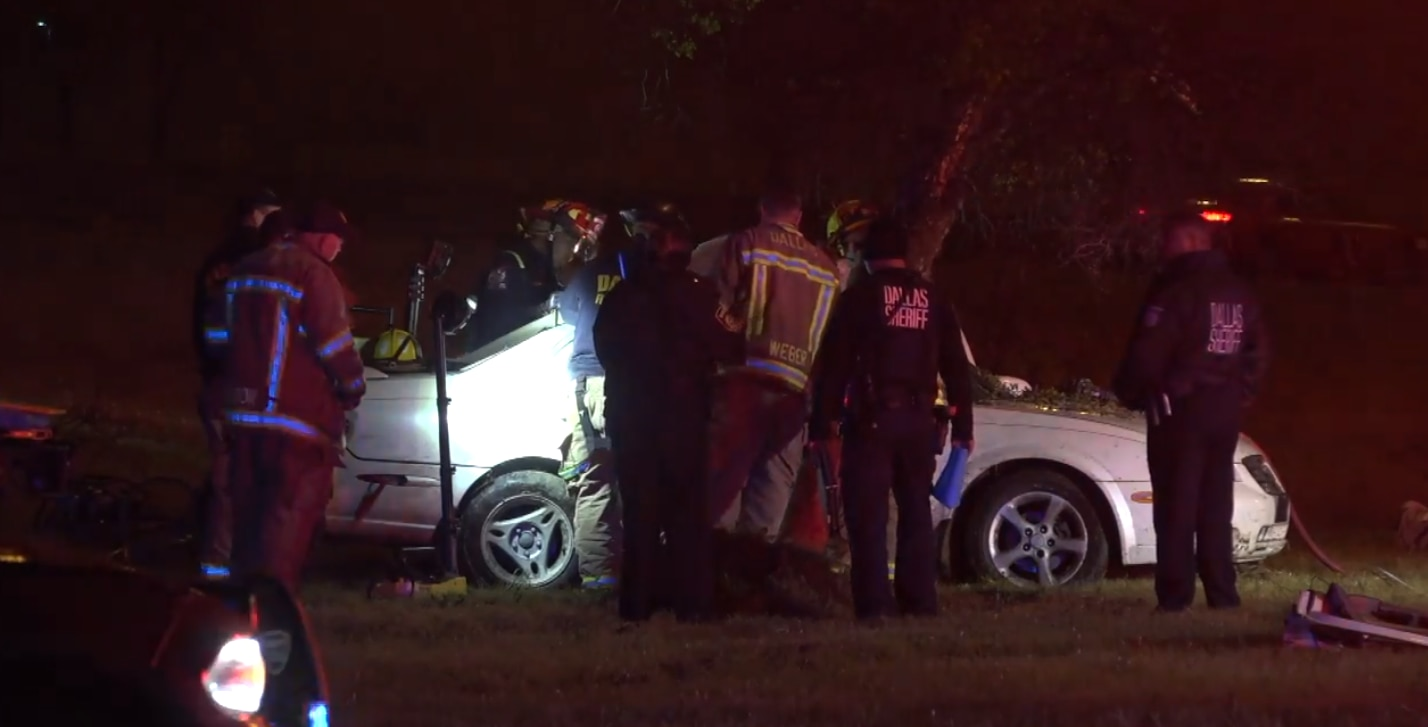 Emergency responders at the scene of a crash early Sunday morning on the eastbound Interstate 20 service road near Willoughby Road that left a 16-year-old dead and three other teens hospitalized.