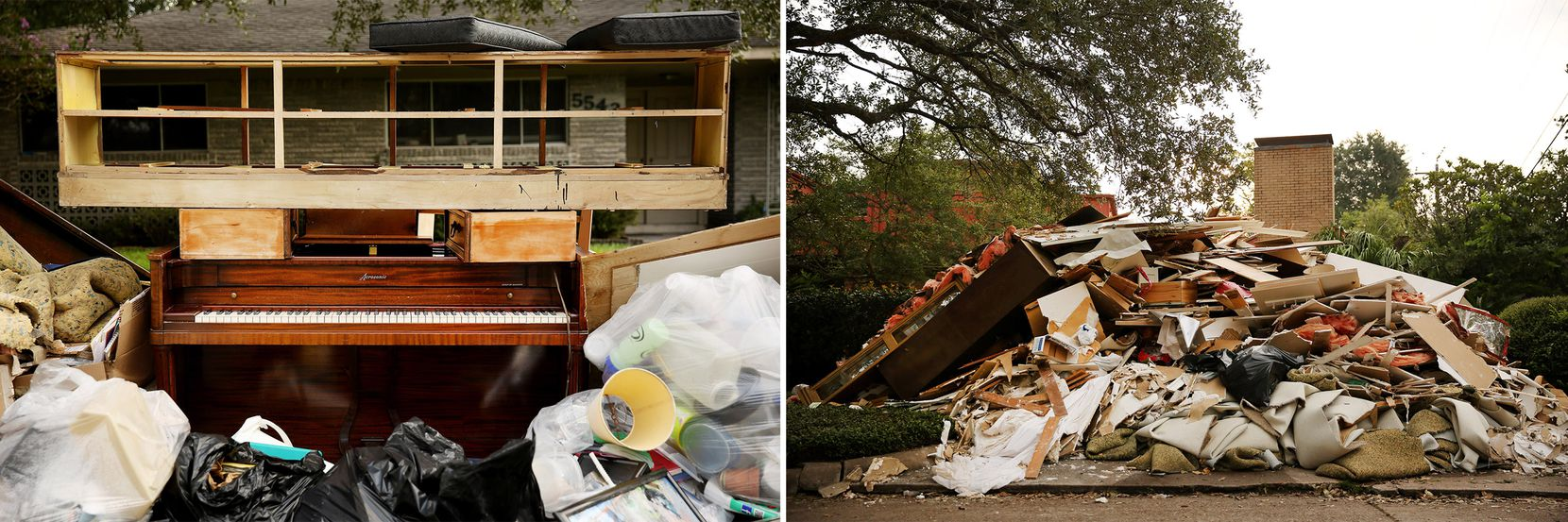 Heaps of trash, including instruments and kitchen supplies, filled driveways and covered sidewalks.