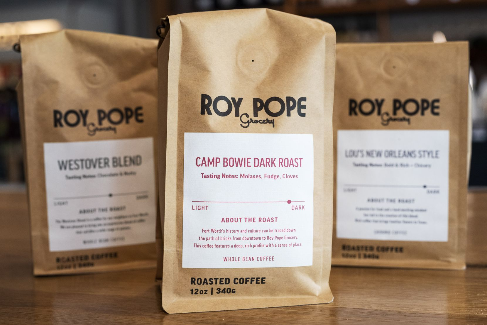 Dallas-based Frame Coffee Company makes Roy Pope Grocery blends such as Camp Bowie Dark Roast, center, Westover Blend, left, and Lou's New Orleans Style coffee.