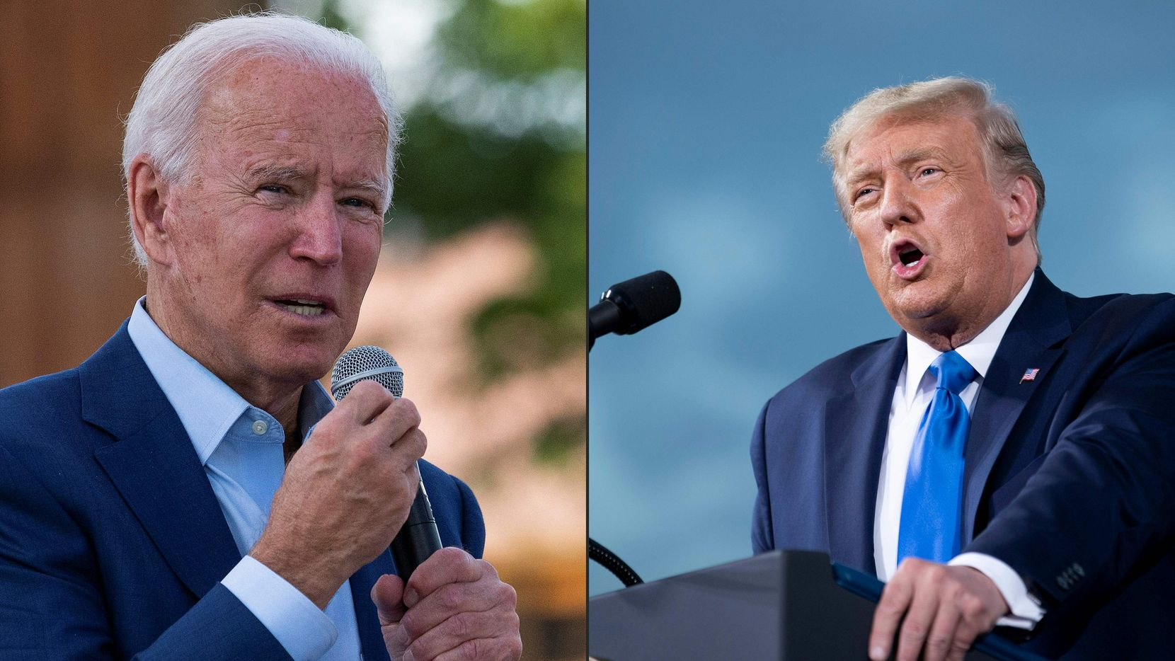 At left, Joe Biden speaks Sept. 23, 2020, at the Black Economic Summit in Charlotte, N.C. At right, President Donald Trump campaigns Sept. 24 at a rally at Cecil Airport in Jacksonville, Fla. (AFP photos by Jim Watson and Brendan Smialowski)