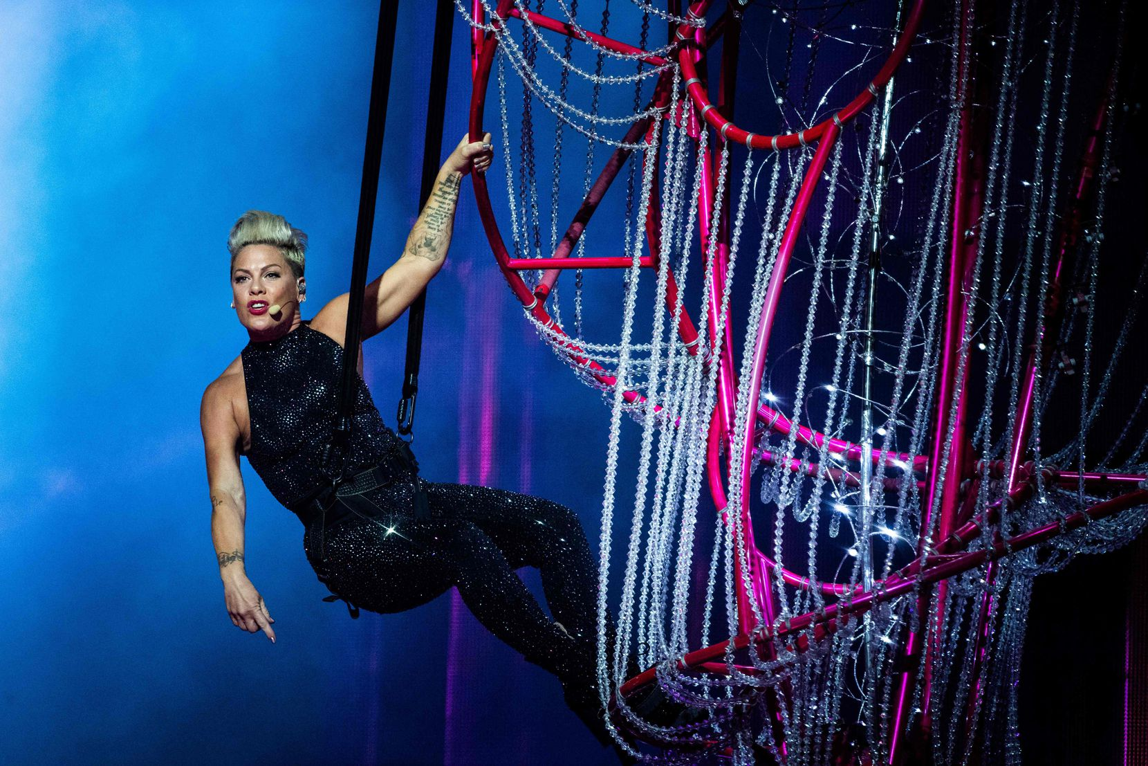 Pop singer Pink has been known to tour with extensive stage gear resembling a circus trapeze act.