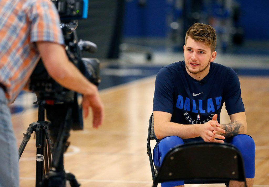 Mavericks guard/forward Luka Doncic has an interview with the team during a Dallas Mavericks NBA Summer League practice at the Mavericks' training facility in Dallas, Tuesday, July 3, 2018. (Jae S. Lee/The Dallas Morning News)