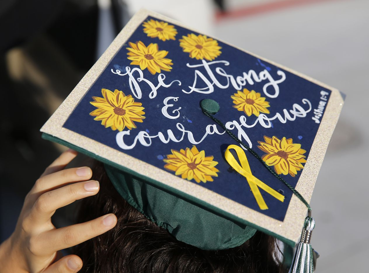 Detail of the cap of Prosper High School softball player Lexie Bell at Prosper High School's graduation ceremony at Children's Health Stadium in Prosper, Texas on Friday, June 5, 2020. Bell signed to play softball at St. Edward's University. But she was recently diagnosed with Ewing Sarcoma, a rare form of cancer.