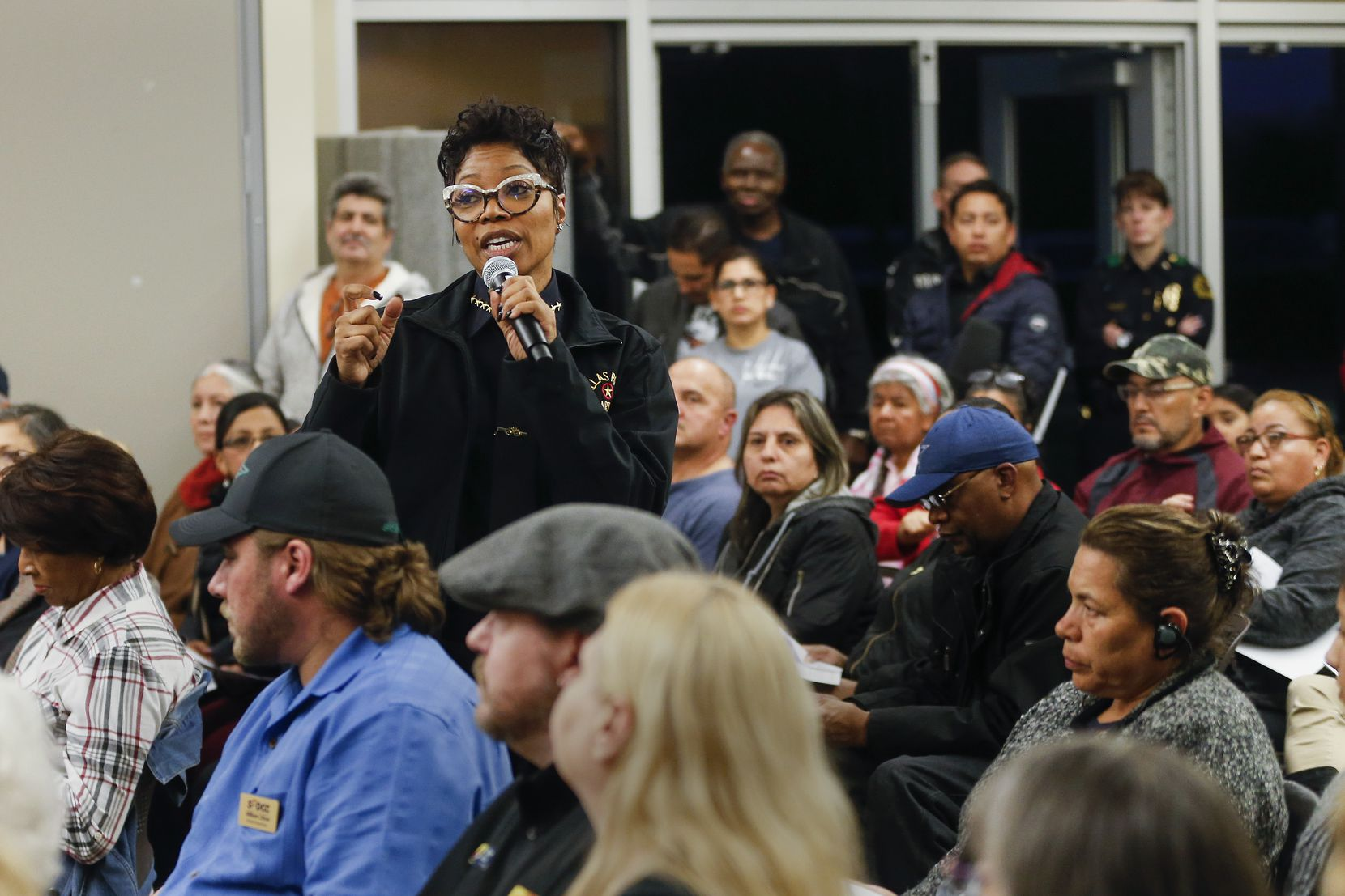 Dallas Police Chief U. Renee Hall spoke during a listening session hosted by the Police Department at Eastfield College's Pleasant Grove campus on Jan. 28, 2020.