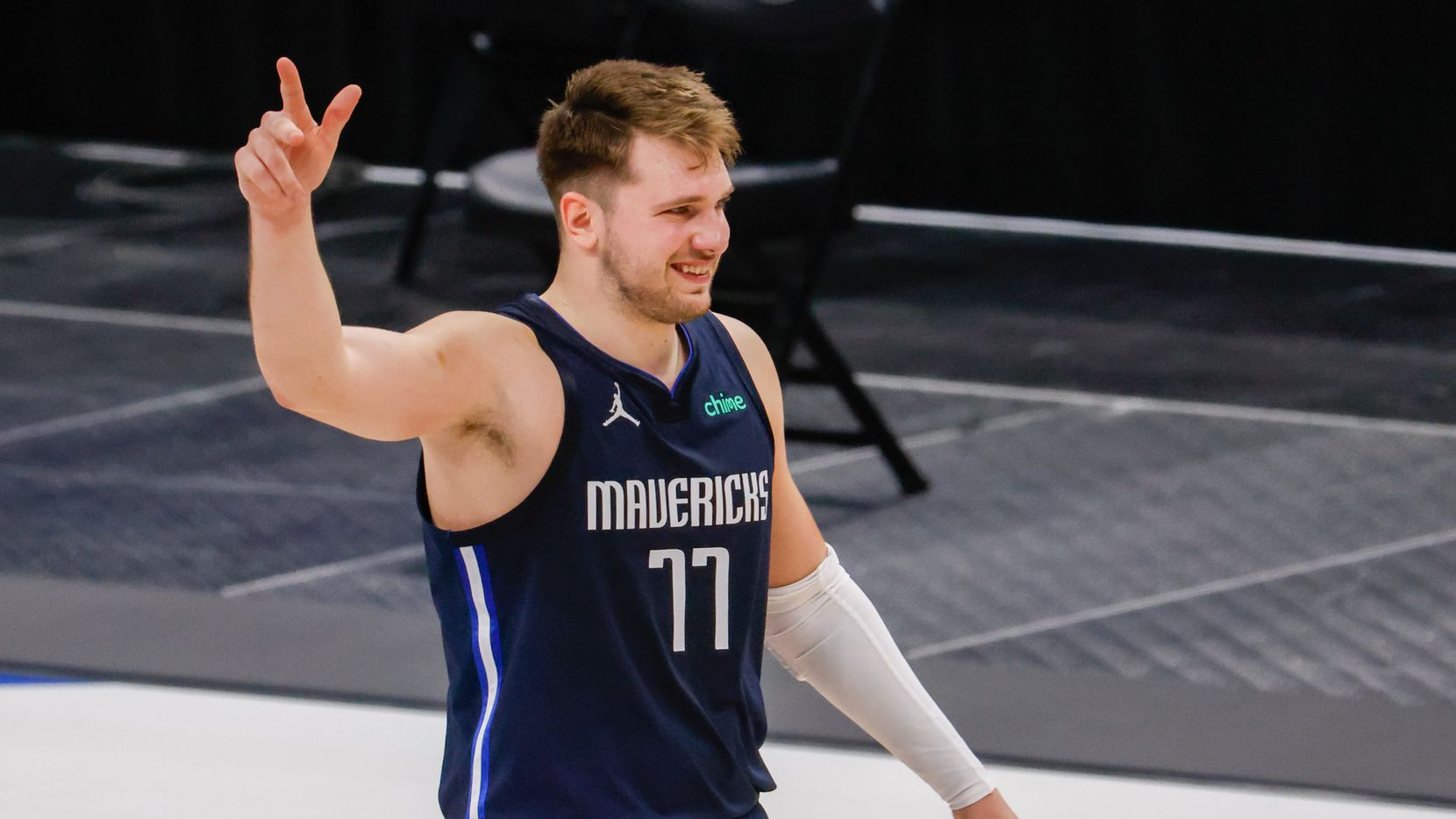 Dallas Mavericks guard Luka Doncic (77) smiles after defeating the Los Angeles Lakers at the American Airlines Center on Saturday, April 24, 2021, in Dallas.