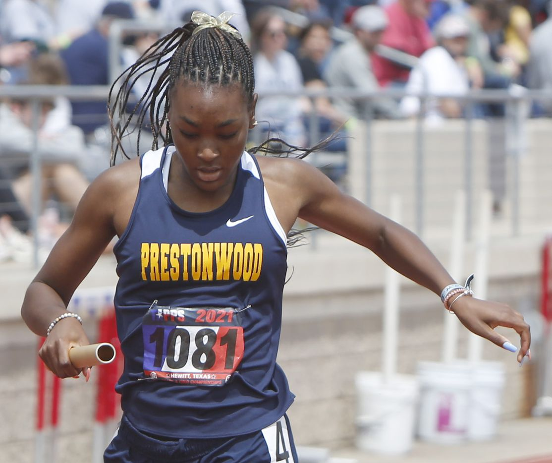 Plano Prestonwood's Nadia Thomas crosses the finish lane as she anchored the school's Class 6A Women 4X200 Meter Relay event. Prestonwood finished first in the event. The running finals from the TAPPS state track meet were held at Waco Midway's Panther Stadium in Hewitt on May 1, 2021. (Steve Hamm/ Special Contributor)