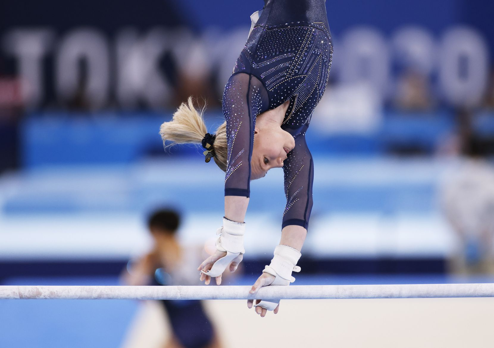 USA's Jade Carey competes on the uneven bars during the women's all-around final at the postponed 2020 Tokyo Olympics at Ariake Gymnastics Centre, on Thursday, July 29, 2021, in Tokyo, Japan. (Vernon Bryant/The Dallas Morning News)