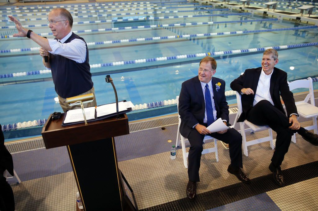 David Kuykendall (left) speaks during a dedication ceremony for Frisco ISD's natatorium. (Tom Fox/The Dallas Morning News)