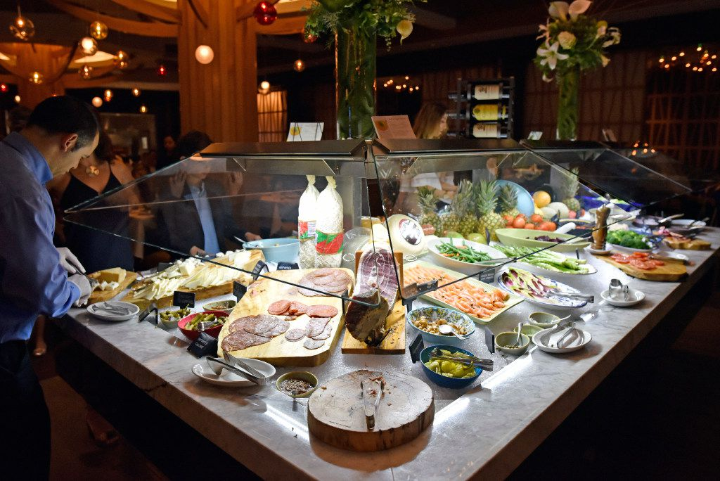 The market table displaying a variety of foods including meats and fruit, inside the new Fogo de Ch‹o in Uptown, Friday, May 19, 2017 in Dallas. Ben Torres/Special Contributor