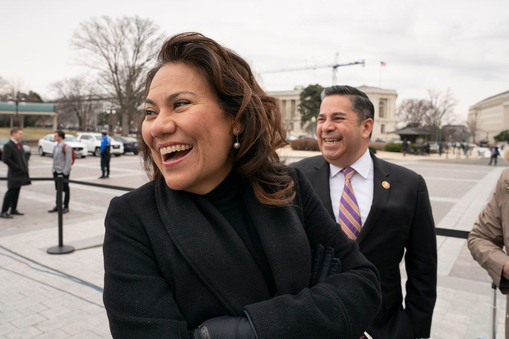 """Rep. Veronica Escobar, D-El Paso, came close to giving her former congressman, Beto O'Rourke, a pre-endorsement for president. """"There's nothing more important than having a president who understands the border. If it's not Beto, that is my No. 1 issue."""" (AP Photo/J. Scott Applewhite)"""