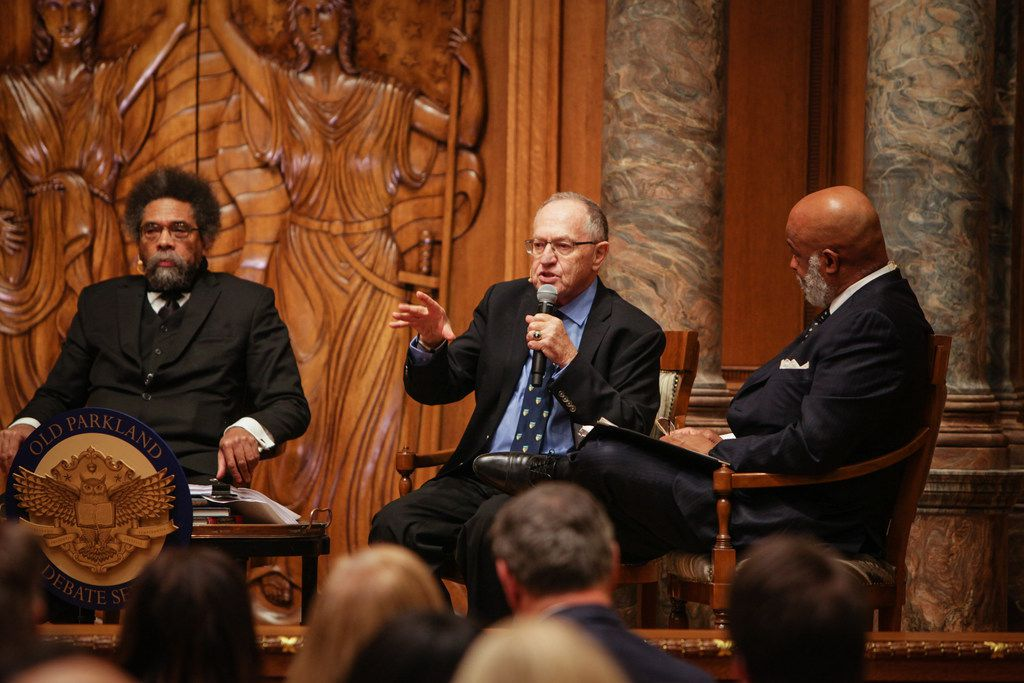 Harvard professor Cornel  West, left, and civil liberties lawyer Alan Dershowitz debate ways to resolve the Israeli Palestine conflict in Old Parkland's Debate Chamber. Dallas district court judge   Eric Moye, right, moderated the Dec. 1 2017 event.