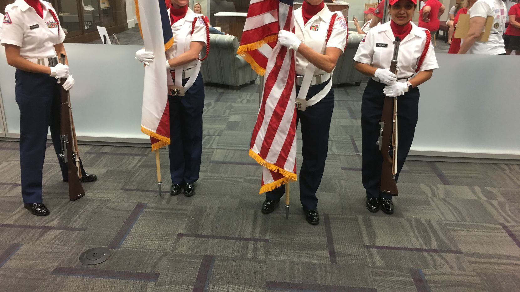 All-female color guard at a ceremony June 15 honoring Texas Women's Veterans Day at Texas Woman's University, Denton.