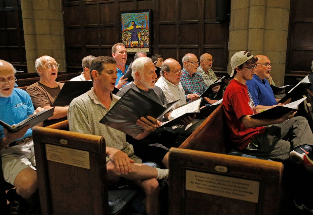 Members of the Credo choir, made up of residents of a New York City shelter, practice for their appearance with the Dallas Street Choir at Carnegie Hall Wednesday evening, during a rehearsal for at the Fifth Avenue Presbyterian Church in New York.