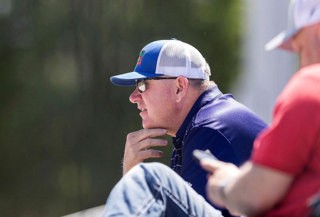 Texas Rangers Senior Director of Amateur Scouting Kip Fagg looks on during an NCAA baseball game between Radford and Georgia Tech, Sunday, May 6, 2018, in Atlanta. (Paul Abell/The Dallas Morning News/TNS)