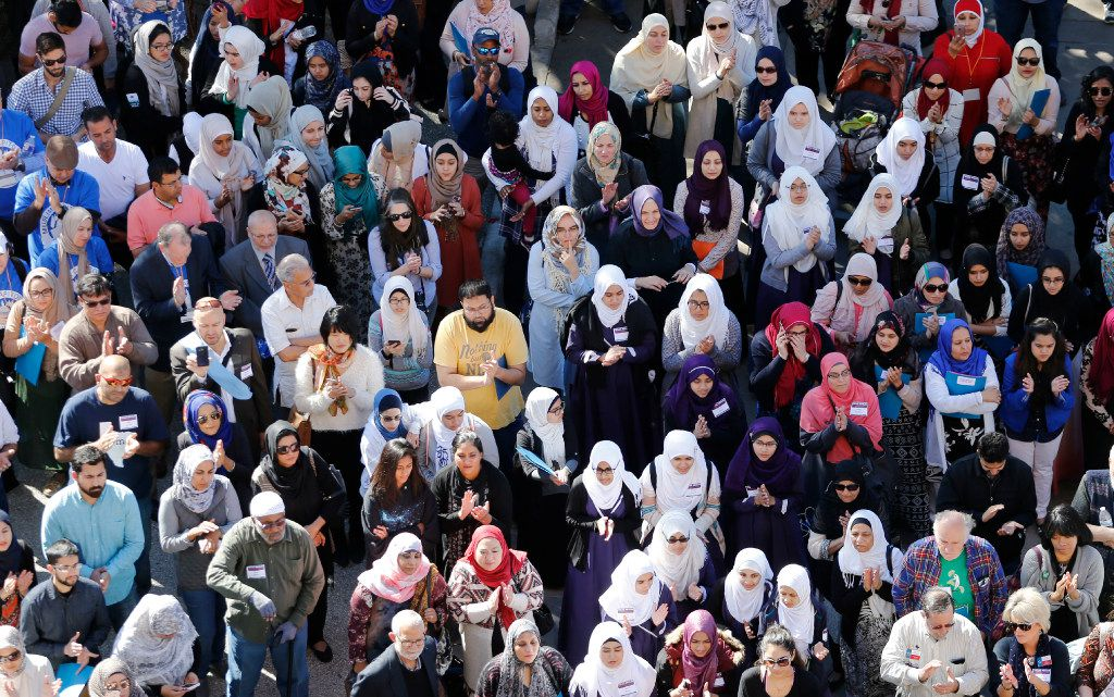 A crowd gathers for a press conference at the steps of the Texas Capitol during the Texas Muslim Capitol Day rally in Austin on Tuesday, January 31, 2017.
