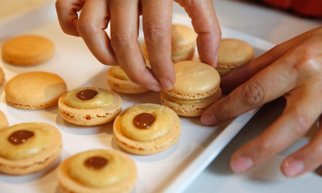 Kristen Massad makes macarons at her home in Dallas.