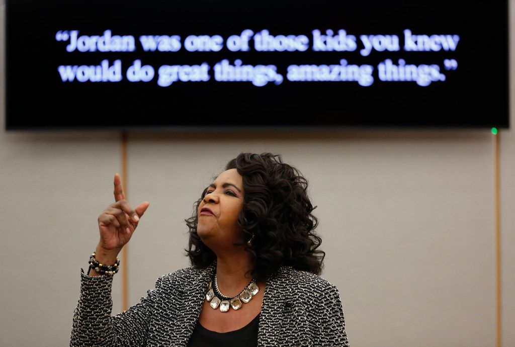Dallas County district attorney Faith Johnson gives a closing argument during the sentencing phase of Roy Oliver's trial, the fired Balch Springs police officer who was convicted for the murder of 15-year-old Jordan Edwards, at the Frank Crowley Courts Building in Dallas on Aug. 29.
