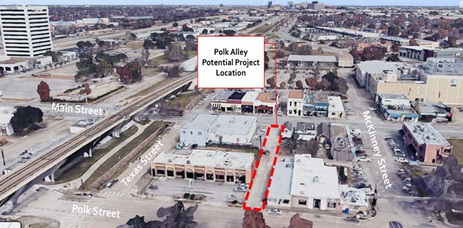One of the projects under consideration for a potential bond measure in Richardson is enhancing an  alleyway to create a pedestrian passageway between Main Street and Polk Street.