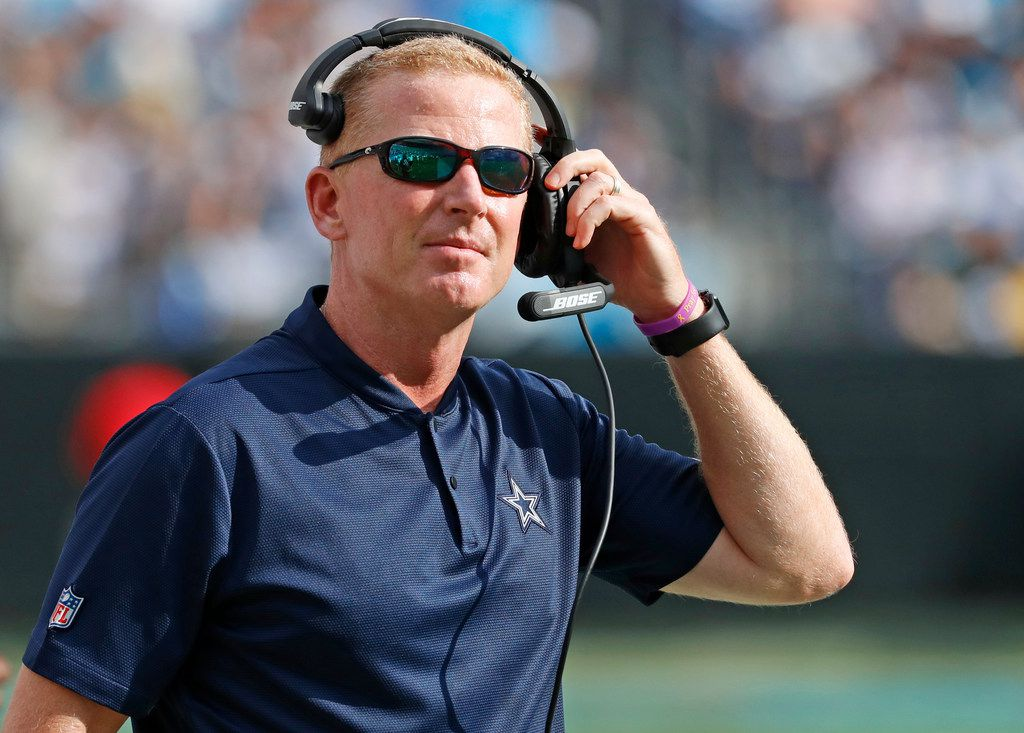 Dallas Cowboys head coach Jason Garrett is pictured on the sidelines during the Dallas Cowboys vs. the Carolina Panthers NFL football game at Bank of America Stadium in Charlotte, North Carolina on Sunday, September 9, 2018. (Louis DeLuca/The Dallas Morning News)