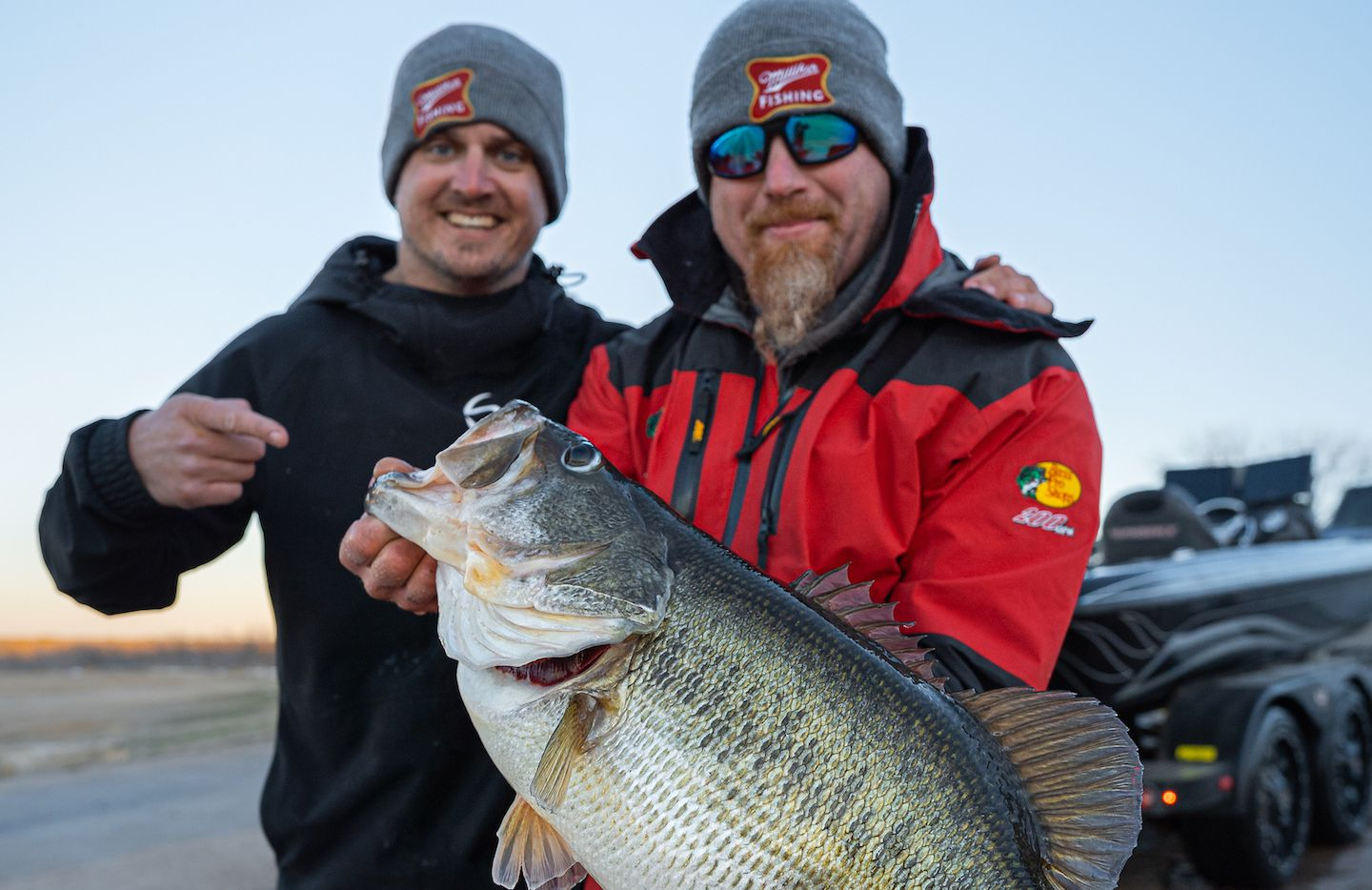Joe McKay (right) and Ben Milliken with the 16.40-pound Toyota ShareLunker McKay landed at Lake O.H. Ivie on Feb. 19. The 19,000-acre lake near San Angelo produced four other fish ranging 13.20 to 14.4 pounds between Feb. 21-25.